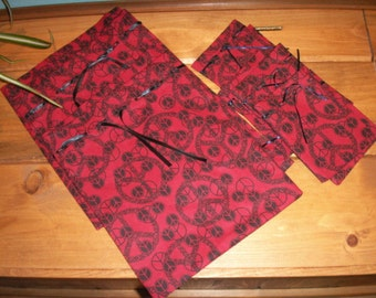 Peace Gift Bag in Red and Black