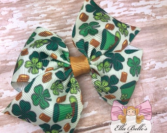 St Patricks Day Shamrock Simply Sweet Bow~ green shamrock bow, shamrock bow, st pattys day bow, clover bow