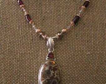 Copper Agate & Garnet Pendant Necklace