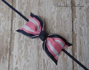 Boutique Pink and Navy Headband Tuxedo Bow Skinny Elastic Headband Infant Headband Preppy Baby Headband Pink Navy Baby Headband