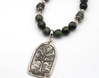 Tree of Life necklace with green and black kambaba jasper beads, Thoreau quote, 18 3/4 inches long