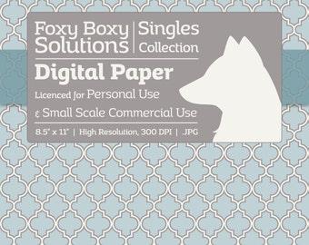 Moroccan Lattice Pattern Digital Paper - Single Sheet in Blue, Gray, & White - Printable Scrapbooking Paper