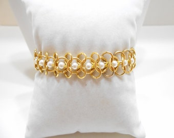 Vintage Goldette Pearl Bracelet (285) Gorgeous!