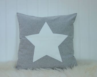 Organic Throw – Star Pillow –  Farmhouse Decor - Pillow Cover – Gray – Antique White – Scandinavian – Kids Pillow - Fleece - 22 X 22