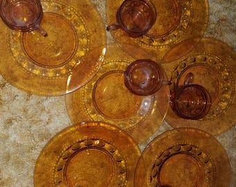 Vintage Service for 6 Amber Glass Luncheon Set
