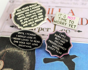 4 Pack Pin Set To Kill a Mockingbird black silver purple hard enamel, literature Harper Lee inspired