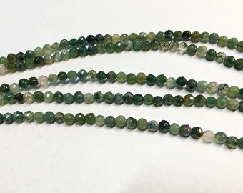 Moss Agate Gemstone Faceted Rounds 4mm 8 inch strand Approx 40 pcs per strand