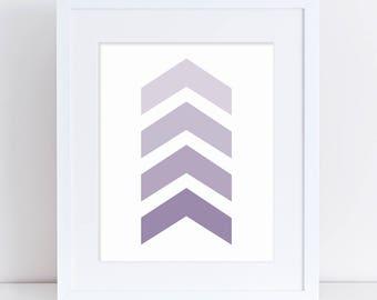 Chevron Nursery Art, Girl Nursery, Girl Nursery Art, Purple Chevron Art, Girl Art Print, Girl Baby Decor, Nursery Digital Art, Purple Arrows