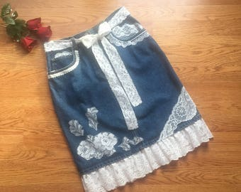 Boho Jean skirt, Cowgirl Skirt, Lace Skirt, Boho Skirt, Country Western Skirt, Denim Skirt, Hippie Skirt, Knee Length Skirt, Size 8 Skirt
