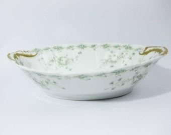 Theo Haviland Limoges France Oval Serving Bowl Green/Blue Flowers Scalloped Brushed Gold