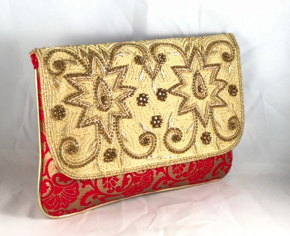 Red and Gold brocade Diamanté ethnic style clutch bag