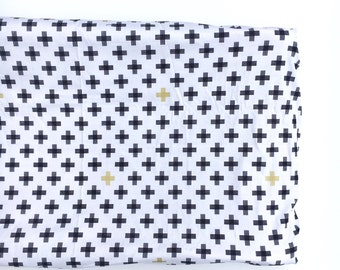 Crib Sheet or Changing Pad Cover- MONOCHROME PLUS- monochrome crib sheet- monochrome baby bedding- cross crib sheet- monchrome changing pad