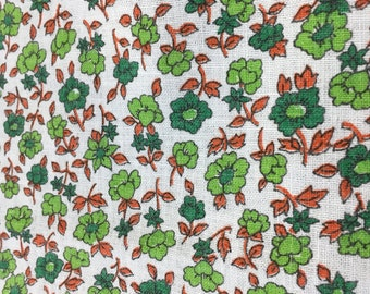 Feedsack Fabric Green Daisy's 38 x 36 Vintage floral print