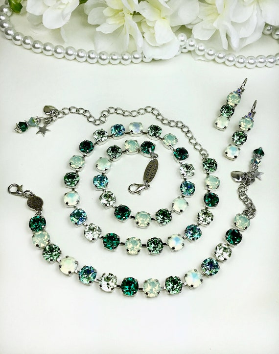 "Swarovski Crystal 8.5mm Necklace  ""Erin Greens II "" & 8.5mm Three Tier  Earrings - Gorgeous! - Designer Inspired - FREE SHIPPING"