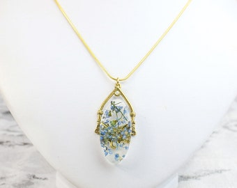 romantic branch jewelry blue gold oval jewelry botanical necklace for mom gift girlfriend delicate forget me not wife gift idea her Рю183