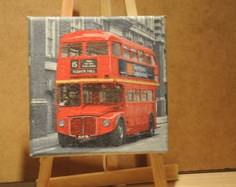 """lovely small painting, square, theme """"London bus"""""""