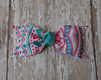 Coral and Aqua Tuxedo Style Toddler Hair Bow 3 Inch Alligator Clip Baby Hairbow Tuxedo Bow Coral and Aqua Hair Bow