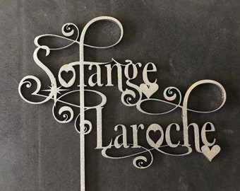 Personalized Wood Laser Cut Cake Topper- Vondey Font