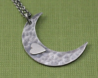 Heart in the Moon Necklace; Hammered Sterling Silver Moon
