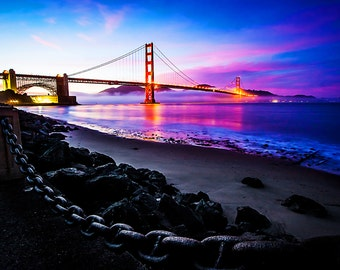 Sunset over the Golden Gate Bridge from Fort Point San Francisco