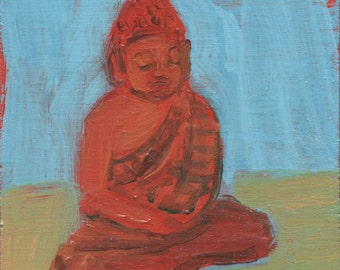 fine art painting - Red Buddha (Back Yard) - original small painting by Irene Stapleford - wantknot shop