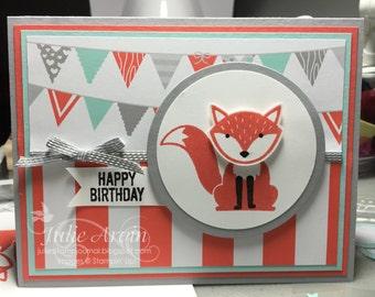 Stampin' Up! FOXY FRIENDS Fox Birthday card