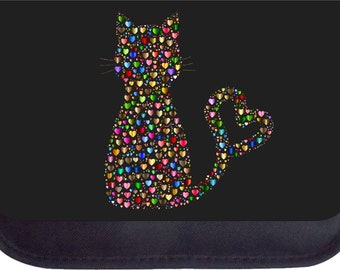 Hearts Kitten Silhouette - Black Pencil Bag - Pencil Case