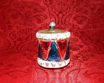 Vintage WEST GERMANY Drum Blown Glass  Christmas Ornament with Mica Decorations