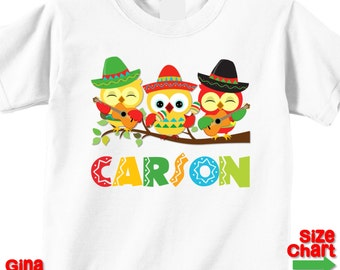 Personalized Boy Cinco de Mayo Baby T-shirt Shirt Baby Bodysuit Cinco de Mayo Festival Owl Sombrero 1st First Cinco de Mayo