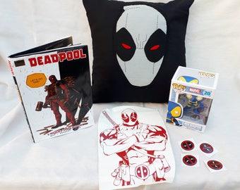 Deadpool gift set, geek box, hamper, marvel, comic book, deadpool cushion, decal, sticker, book, x force, xforce, pop funko, pillow