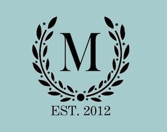 STENCIL Custom Your Initial Monogram Wreath - Various Sizes