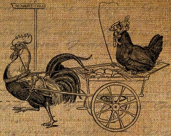 To The Market Rooster Eggs Chicken Hen Farming Egg Farm Digital Image Download Transfers To Pillows Totes Tea Towels Burlap No.2708
