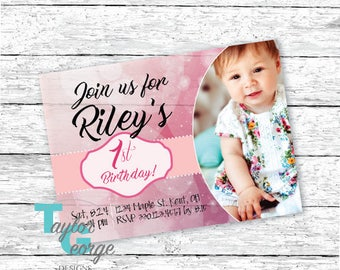 Girls First Birthday Invitation - 1st Birthday Invitation - Glitter Birthday Invitation - Personalized Printable Invitation - First Birthday