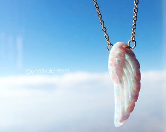 Angel Wing Opal Necklace or Bracelet in Gold Filled Sterling Silver or Rose Gold Filled, Angel Wing Delicate Jewelry