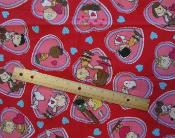 Red Peanuts Gang Hearts  Valentine Cotton Fabric By the Half Yard