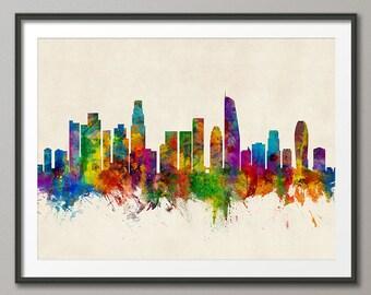 Los Angeles Skyline, Los Angeles California Cityscape Art Print (2655)
