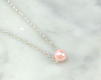 Single Pearl Necklace, Floating Pearl Necklace, Wedding Jewelry, Silver Necklace, Wedding Necklace, Bridesmaid Gift, Flower Girl Gift, Blush