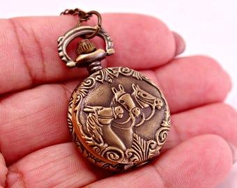 Steampunk Brass Horse Pocket Watch with 28 Inch Brass Chain
