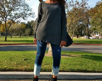 Long Sleeve Swing Sweater ~ Slouchy Pull Over Lightweight Sweater ~  Long Sleeve Over Size Swing Sweater ~ All Sizes / Colors
