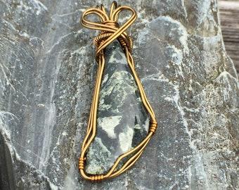 Copper Dallasite Pendant Wire Wrapped Local Stone Handmade