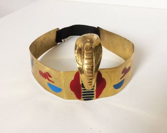 Gold Egyptian Snake Headdress/Head Band/Crown/Cleopatra Costume/Ancient Egypt/Fancy Dress/Pharaoh/Exotic/Brass/Fun/MADE IN EGYPT