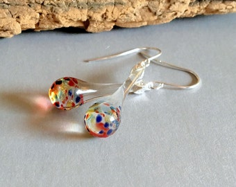 Blown Glass Earrings Multi Color Dangle Lampwork Boro and Silver (ECMC)