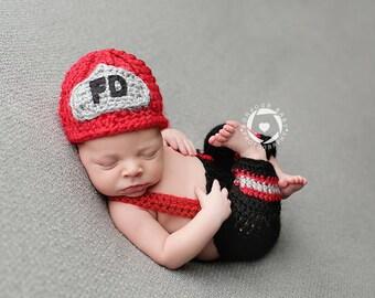 Newborn Fireman Set Photo Prop/ Newborn Firefighter Prop/ Baby Fireman Set