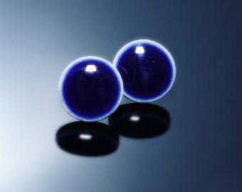 Navy blue post earrings Small post earrings Everyday earrings Ceramic earring Sterling silver earing Dark blue stone earring Midnight blue