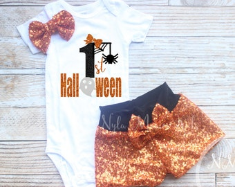 Halloween baby costume, baby sequin shorts, My first Halloween, Personalized Halloween, Girls Halloween outfit,