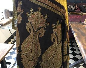 Vtg skirt wrap silk 2 layer 1980s