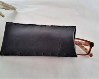 Black Leather Eye Glass Case, Slot Leather Readers Case, Rustic Leather Glasses Case, Rustic Black Leather Eyewear Pouch