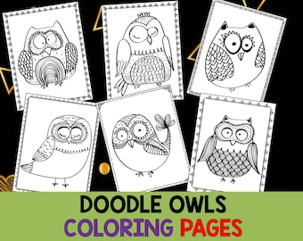 Doodle Owls Coloring Pages - The Crayon Crowd, printable, party, party favors, Coloring book, Sheets, adult, pdf, owl, cute