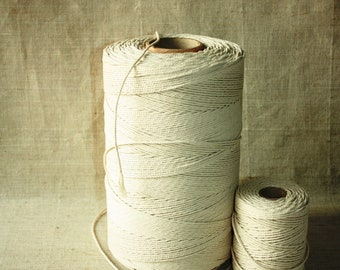 2.5 mm Cotton Rope= 1 Spool= 1094 Yard= 1000 Meter Natural and Elegant 100% COTTON Twisted CORD- Macrame cord - Not bleached - No chemicals