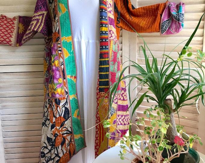 Long kantha reversible designer duster/kimono